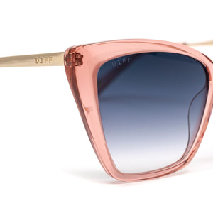 BECKY II sunglasses with light pink crystal frames and blu gradient lens detailed shot
