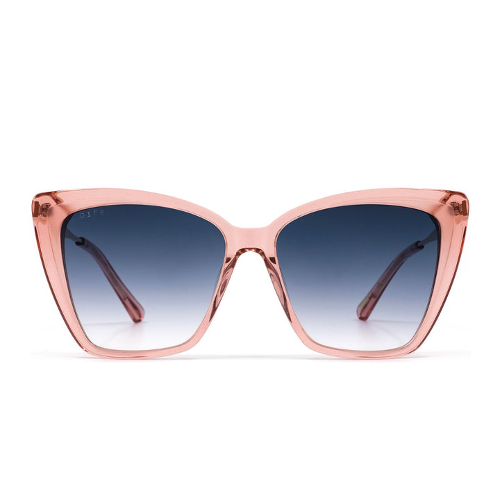 BECKY II sunglasses with light pink crystal frames and blu gradient lens front view