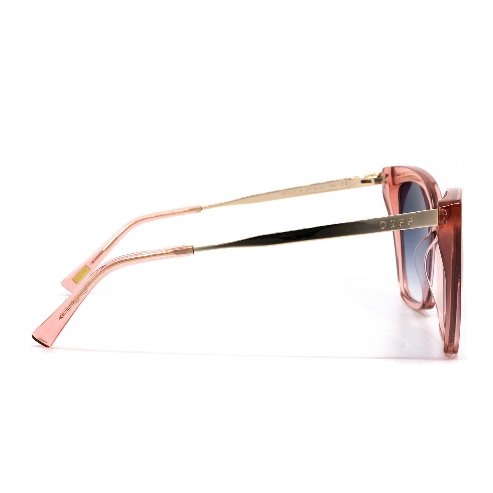 BECKY II sunglasses with light pink crystal frames and blu gradient lens side view