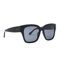 Bella II sunglasses with black frames and grey polarized lens angle view
