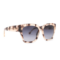 Bella II sunglasses in with cream tortoise frames and grey gradient lens angle view