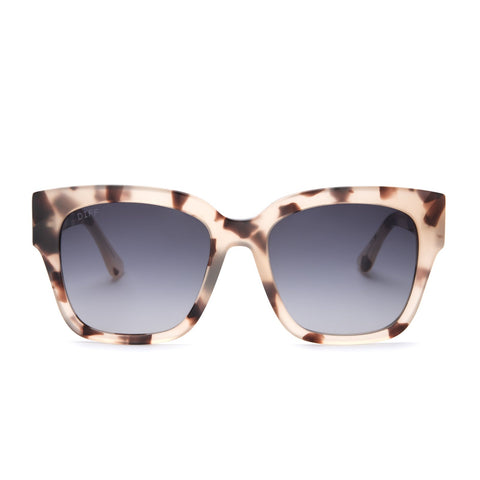 Bella II sunglasses in with cream tortoise frames and grey gradient lens front view