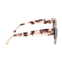 Bella II sunglasses in with cream tortoise frames and grey gradient lens side view