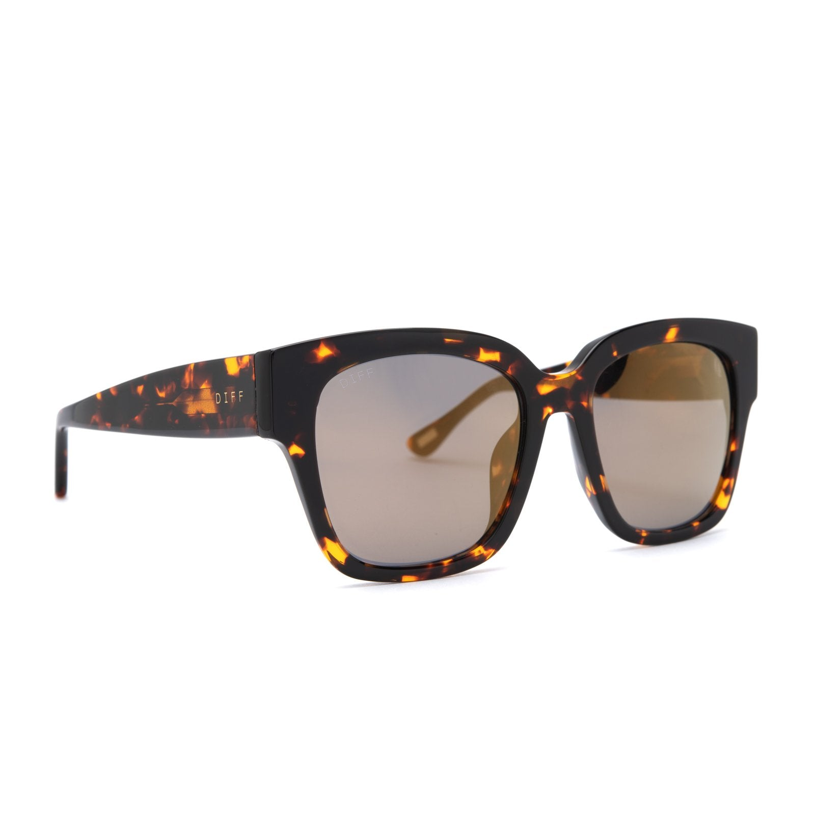 Bella II sunglasses with dark tortoise frames and gold mirror lens angle view