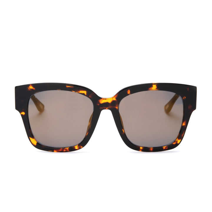 Bella II sunglasses with dark tortoise frames and gold mirror lens front view