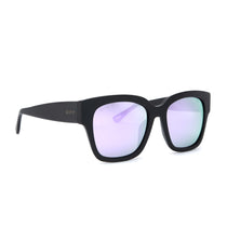 Bella II glasses with matte black frames and lavender flash lens angle view