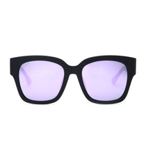 Bella II glasses with matte black frames and lavender flash lens front view