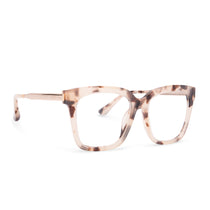 Bella eyeglasses with cream tortoise frames with blue light technology lens angle view