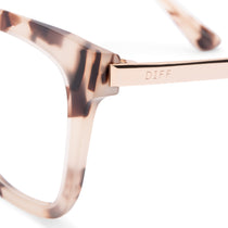 Bella eyeglasses with cream tortoise frames with blue light technology lens detail view