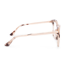 Bella eyeglasses with cream tortoise frames with blue light technology lens side view