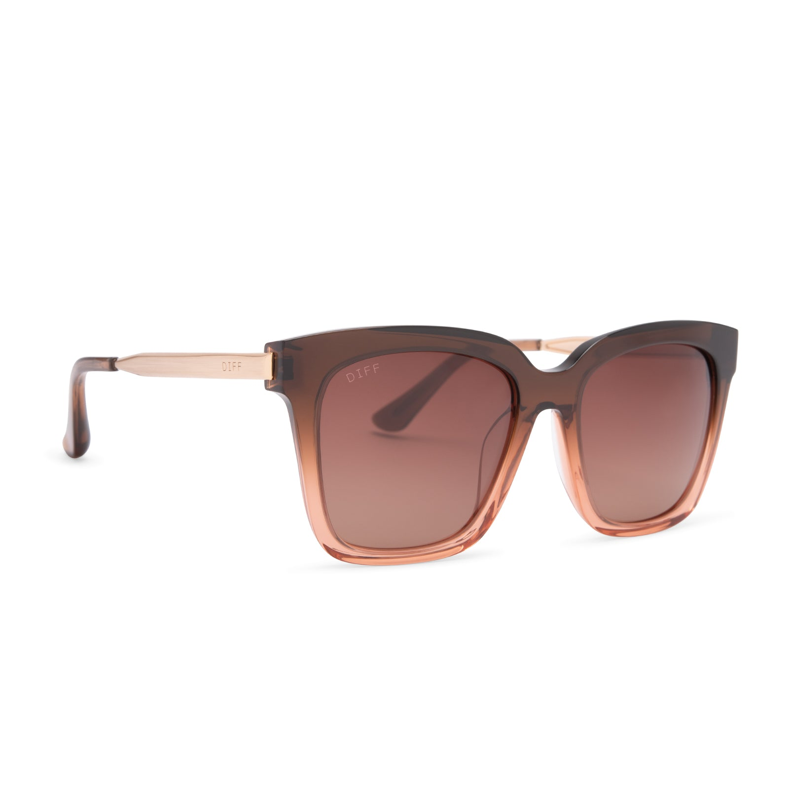Bella sunglasses with taupe ombre crystal frames and brown gradient polarized lens angle view