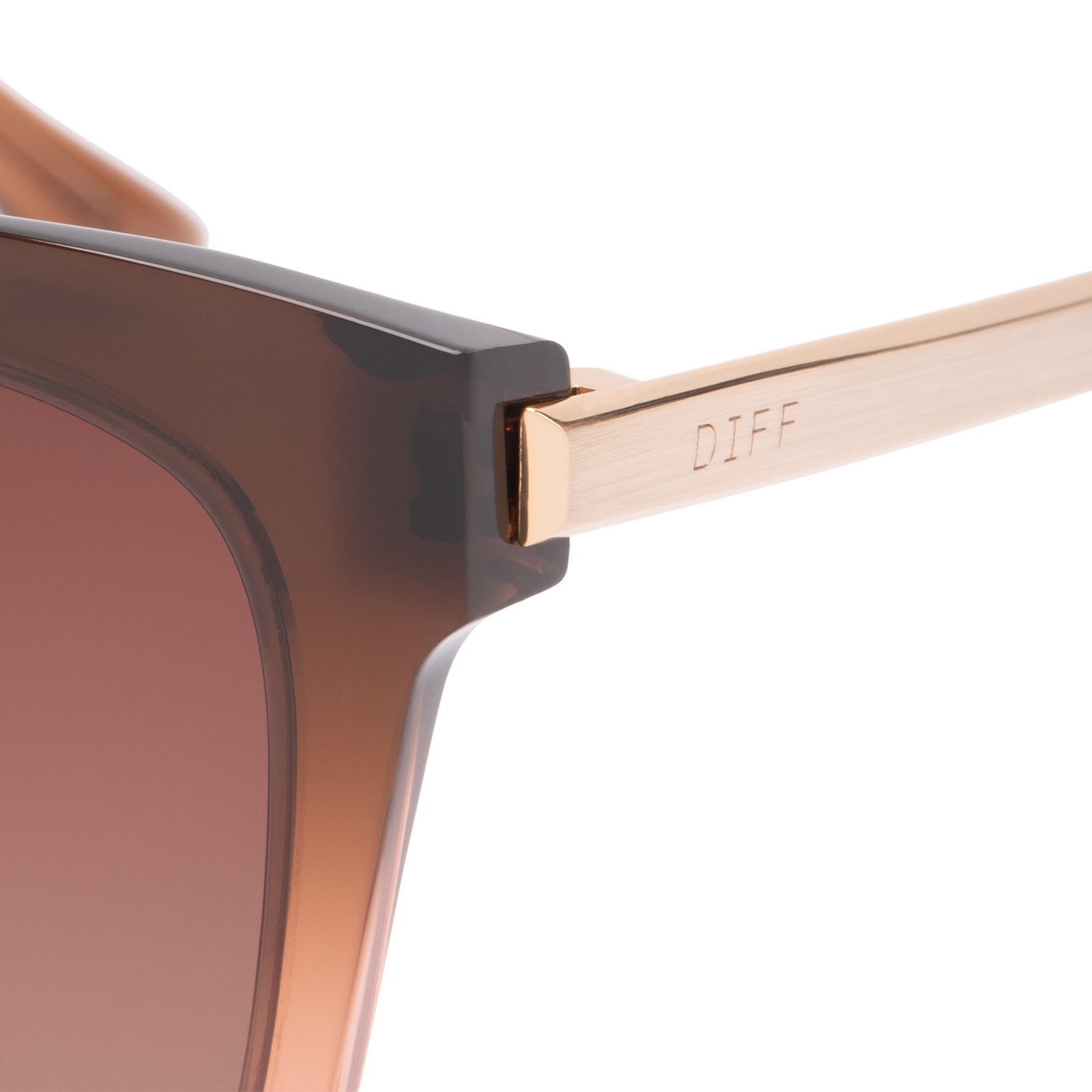 Bella sunglasses with taupe ombre crystal frames and brown gradient polarized lens detail view