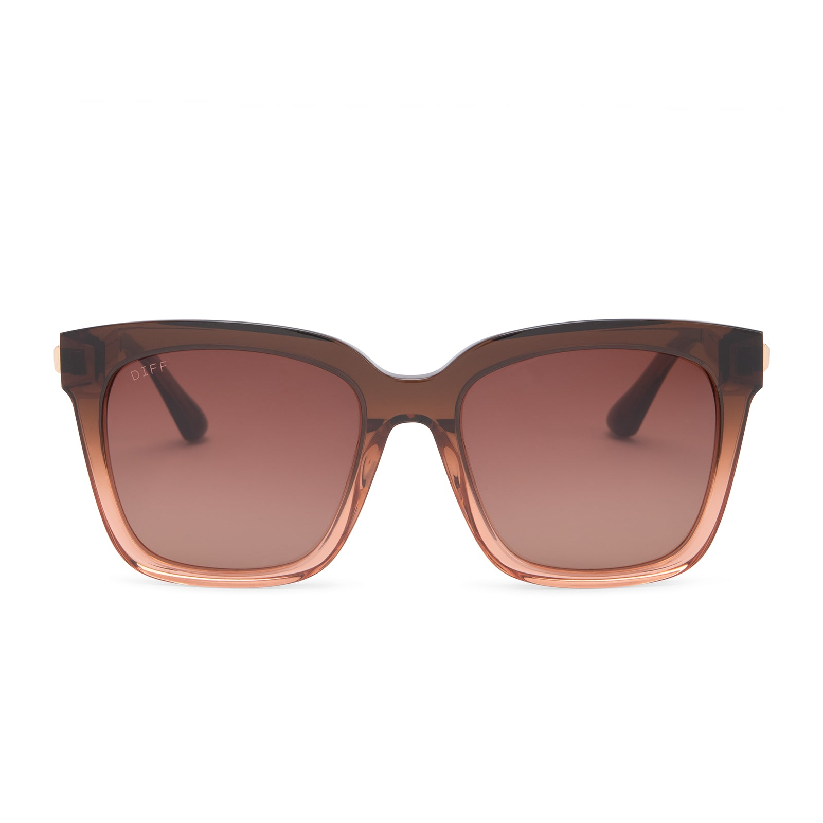 Bella sunglasses with taupe ombre crystal frames and brown gradient polarized lens front view