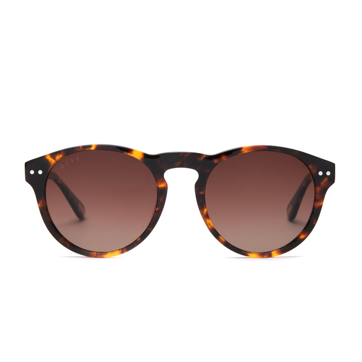 Cody sunglasses with amber tortoise frames and brown gradient polarized lens front view