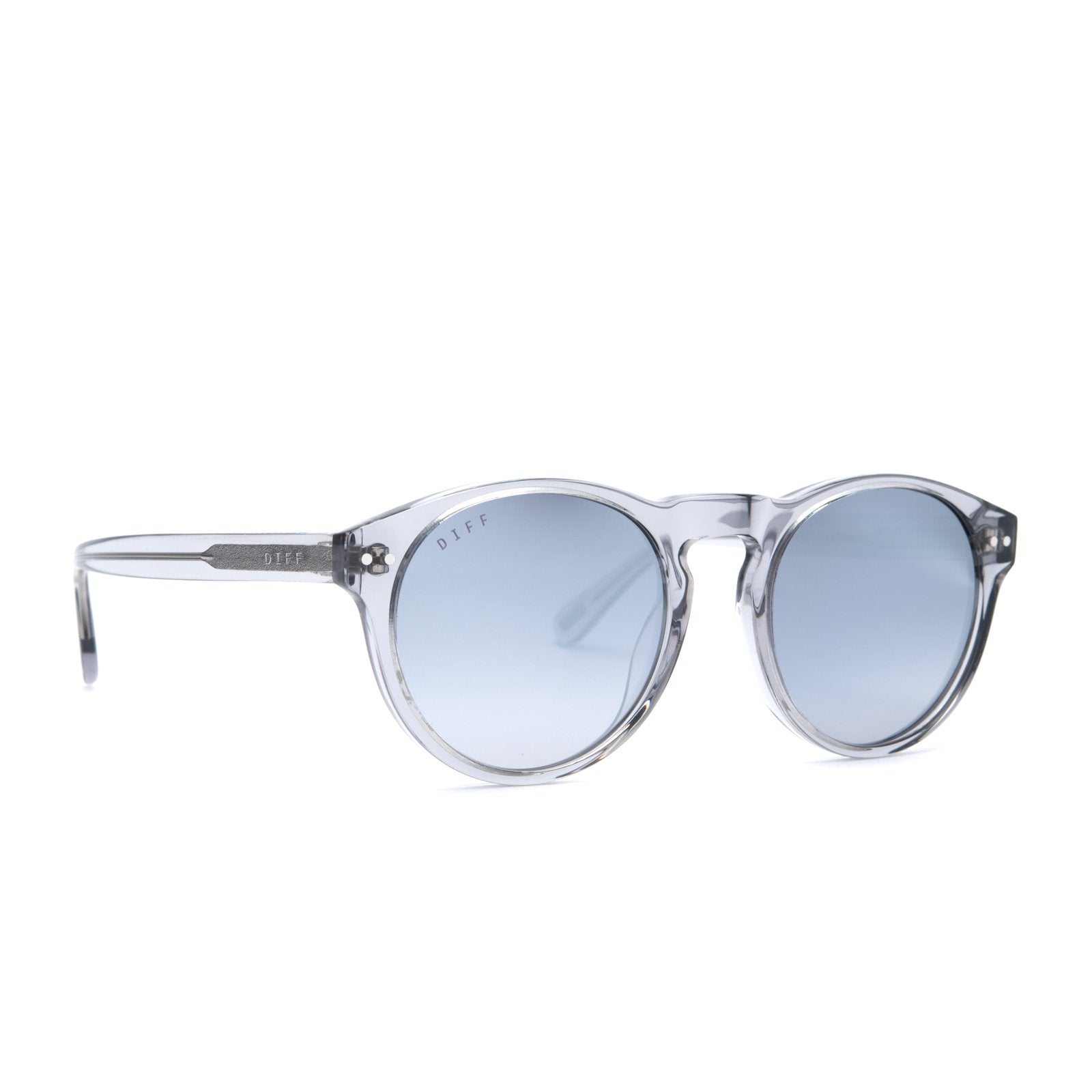 Cody sunglasses with smoke crystal frames and grey mirror lens angle view
