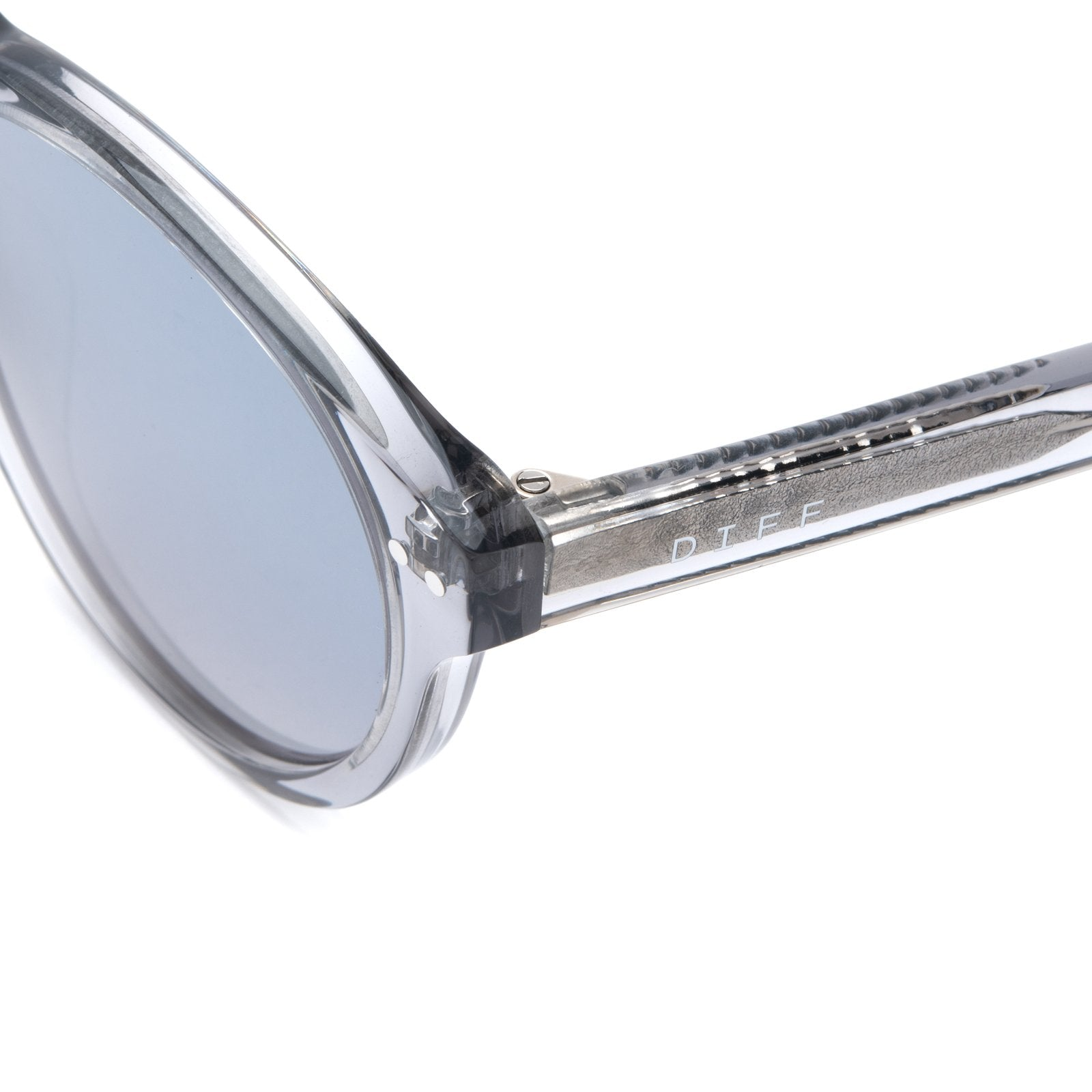 Cody sunglasses with smoke crystal frames and grey mirror lens angle shot