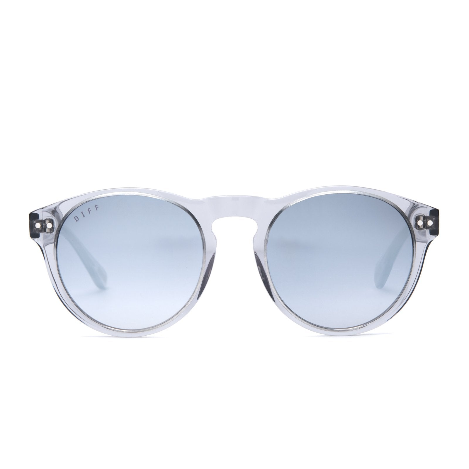 Cody sunglasses with smoke crystal frames and grey mirror lens front view