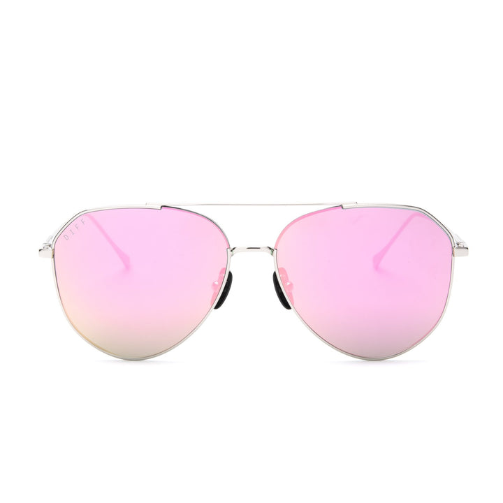 DASH sunglasses with silver frames and pink mirror polarized lens front view