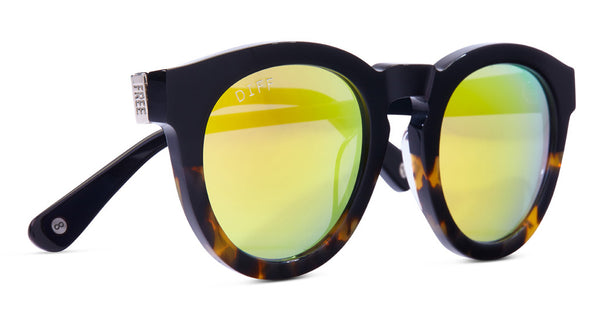 DIME II - WILD AND FREE - TWO TONE FRAME- GOLD MIRROR LENS - DIFF Eyewear  - 4