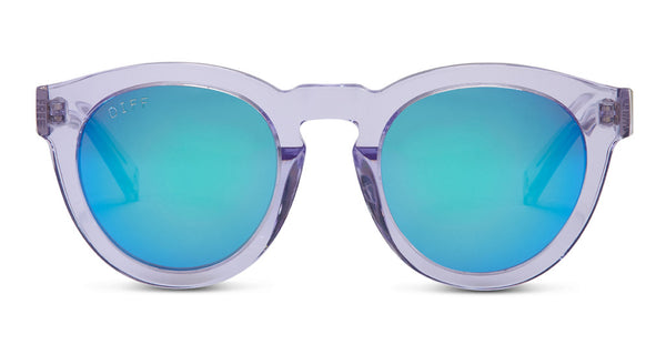 DIME II - WILD AND FREE - CLEAR FRAME - BLUE MIRROR LENS - DIFF Eyewear  - 1