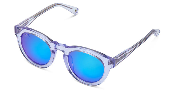 DIME II - WILD AND FREE - CLEAR FRAME - BLUE MIRROR LENS - DIFF Eyewear  - 4