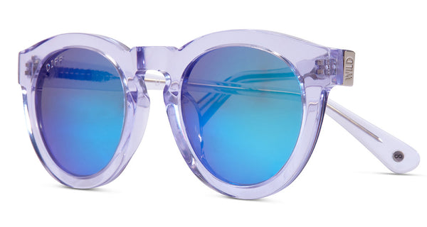 DIME II - WILD AND FREE - CLEAR FRAME - BLUE MIRROR LENS - DIFF Eyewear  - 2