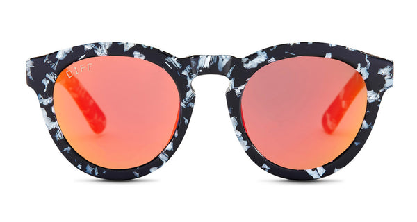 DIME II - BLACK / WHITE - RED MIRROR LENS - DIFF Eyewear