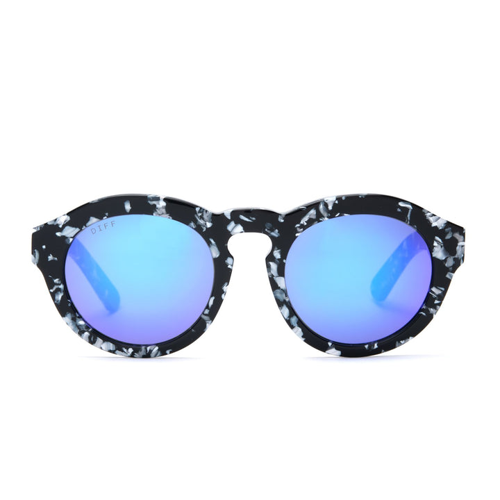 Dime sunglasses with black and white frames and blue mirror lens front view