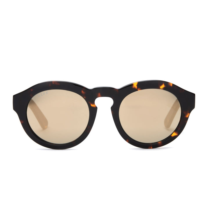 Dime sunglasses in dark tortoise frames with gold mirror lens front view