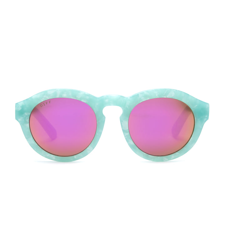 Dime sunglasses with sea foam frames and pink mirror lens front view