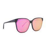 GIA sunglasses with black frames and pink mirror lens angle view