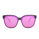 GIA sunglasses with black frames and pink mirror lens front view