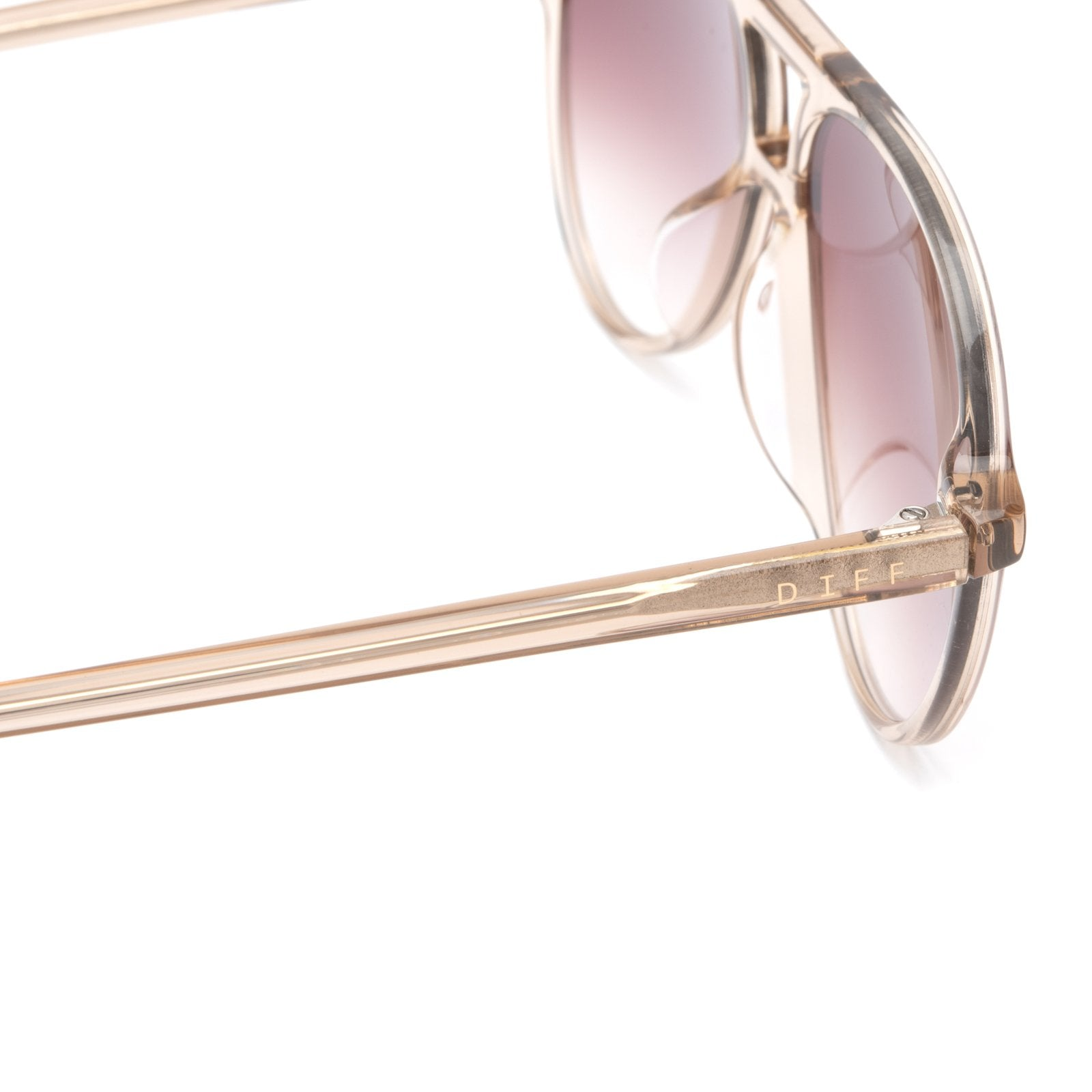 Jett sunglasses with vintage crystal frames and brown gradient lens detail view