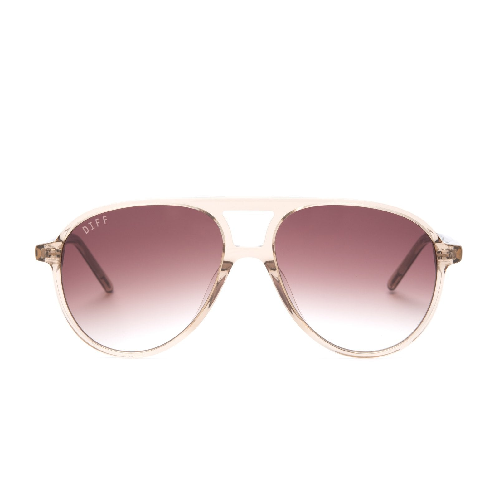 Jett sunglasses with vintage crystal frames and brown gradient lens front view