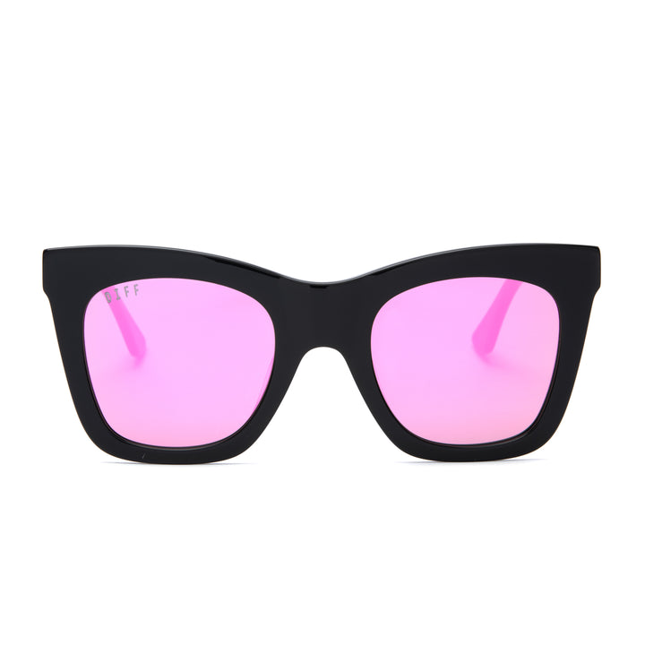 Kaia sunglasses with black frames and pink mirror lens front view