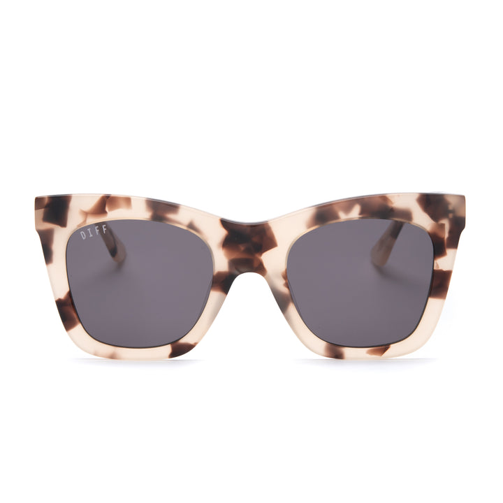 Kaia sunglasses with cream tortoise frames and grey lens front view