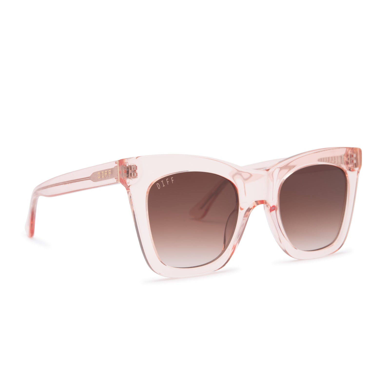 KAIA sunglasses with light pink crystal frames and brown gradient lens angle view
