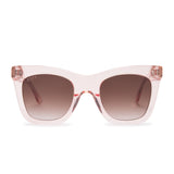 KAIA sunglasses with light pink crystal frames and brown gradient lens front view