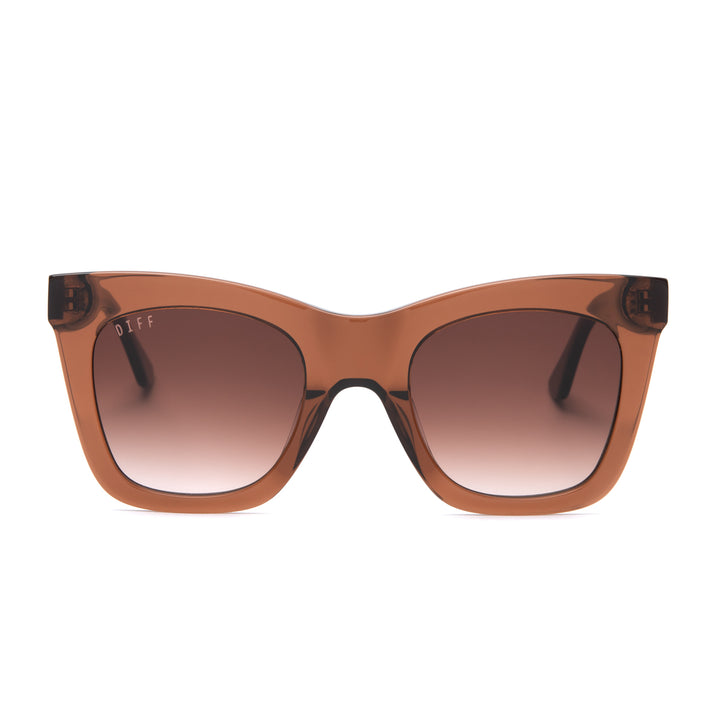 Kaia sunglasses with dark taupe frames and brown gradient polarized lens front view