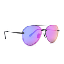 Lenox sunglasses with matte black frames and purple mirror lens angle view