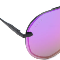Lenox sunglasses with matte black frames and purple mirror lens detailed shot