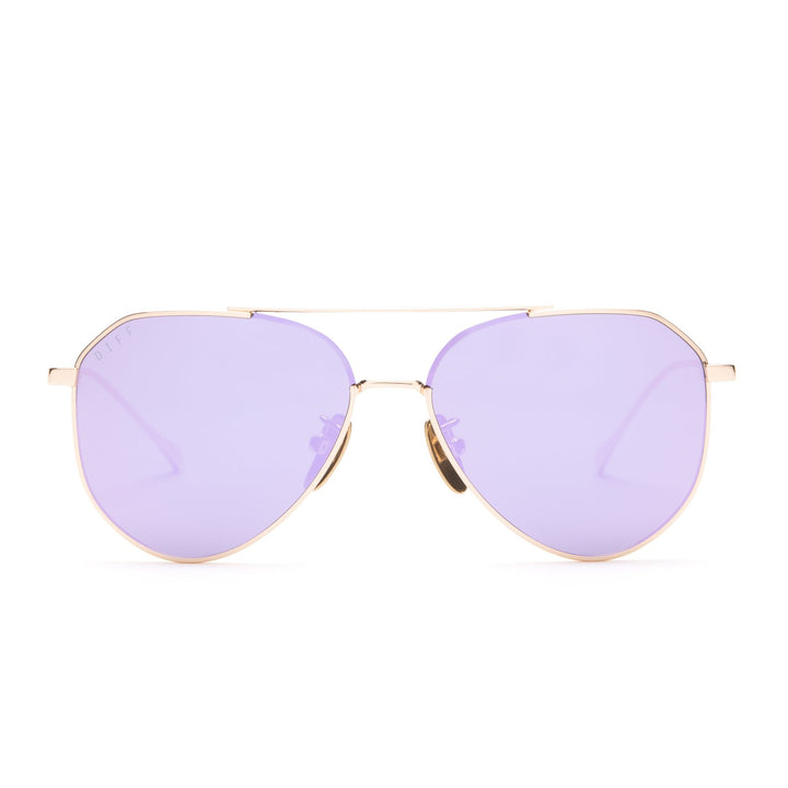Lil Dash sunglasses with gold frames and lavender flash lens front view