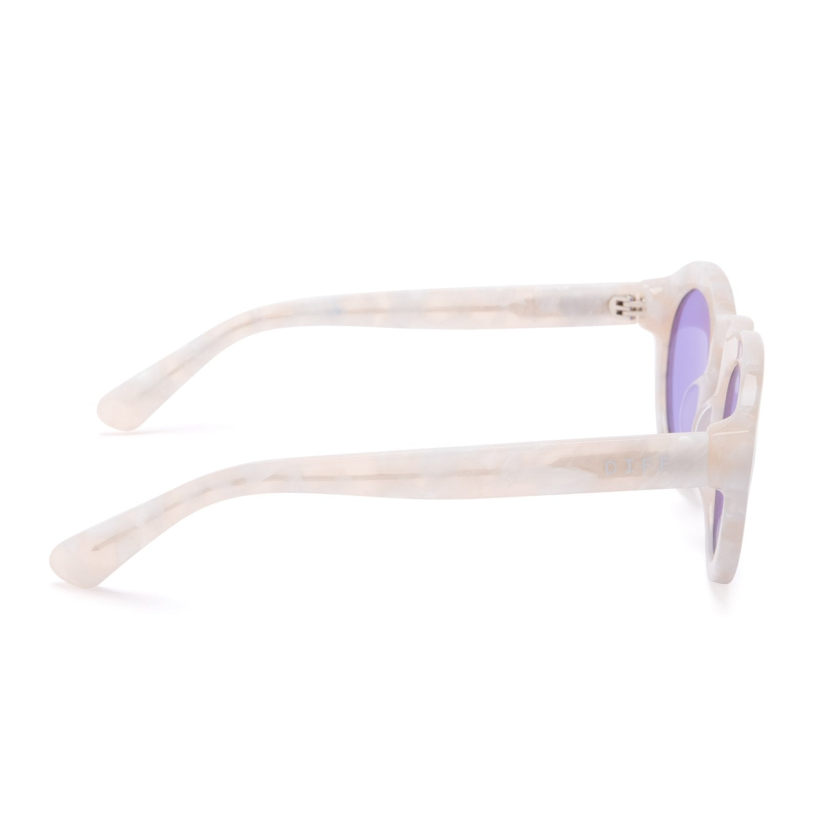 Lil dime sunglasses with white pearl frames and lavender flash lens side view