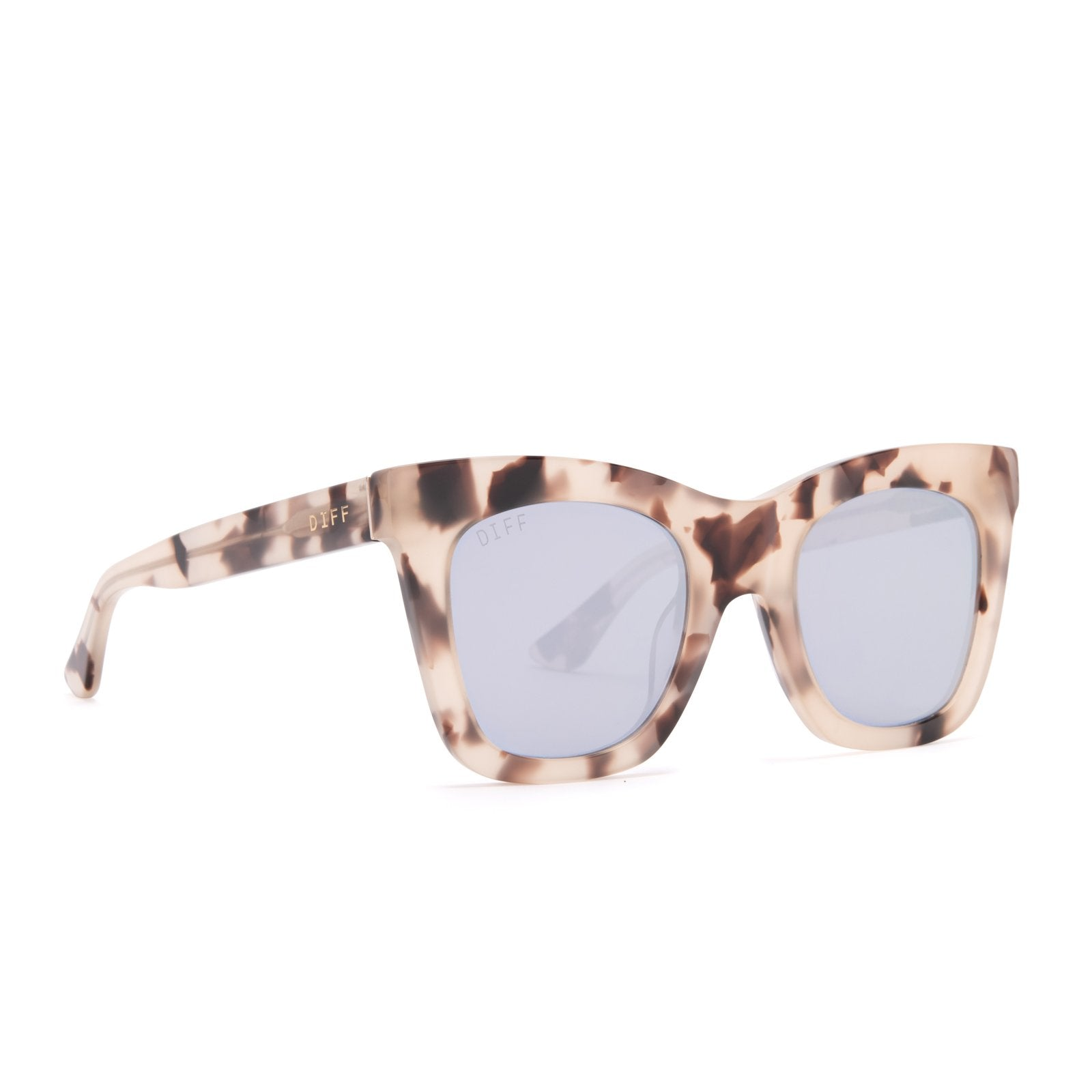 Lil Kaia sunglasses with cream tortoise l frames and lavender flash lens angle view