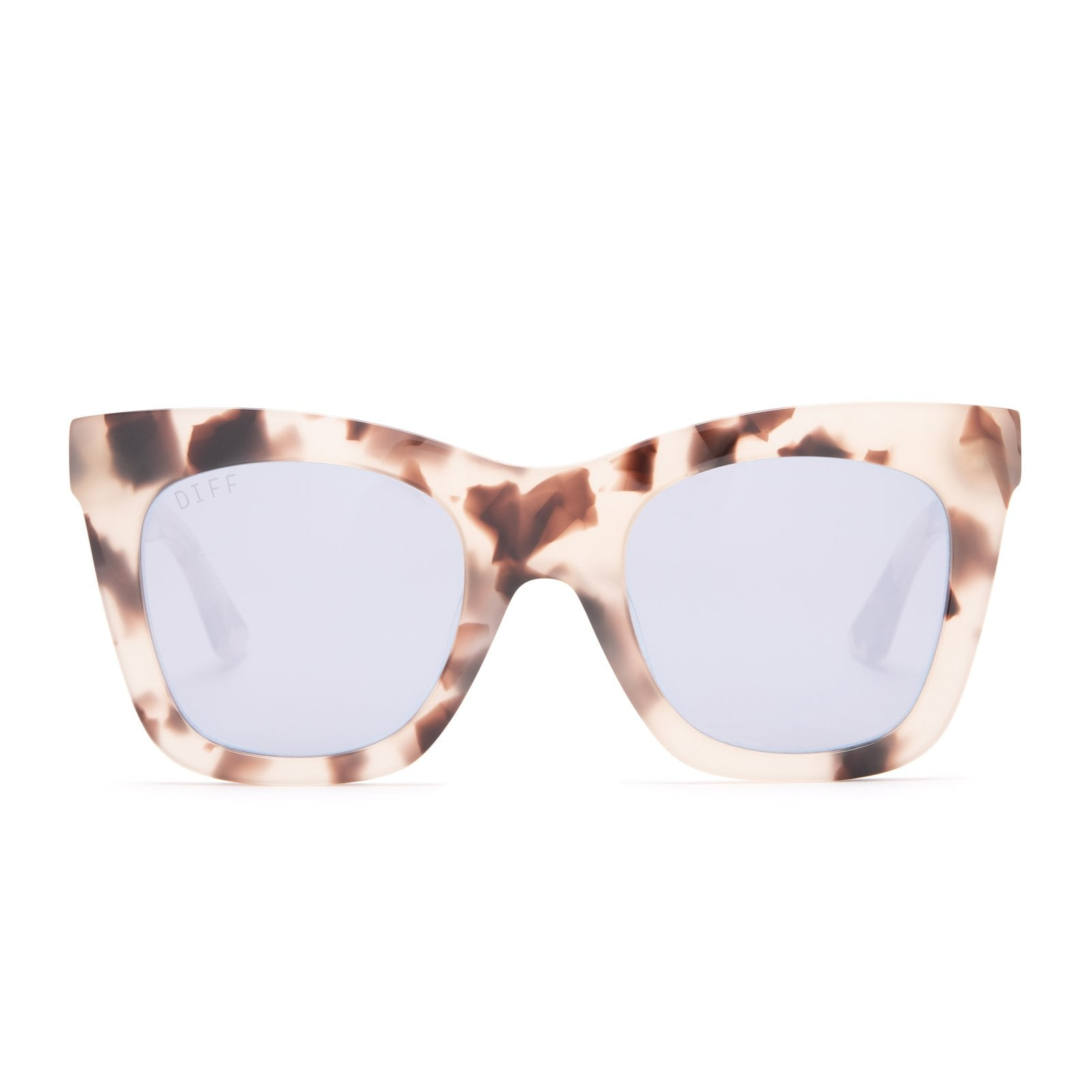 Lil Kaia sunglasses with cream tortoise l frames and lavender flash lens front view