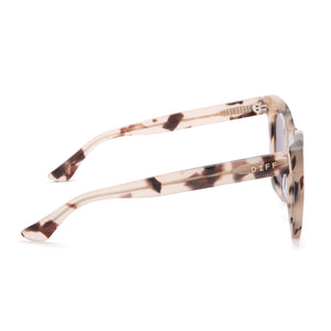 Lil Kaia sunglasses with cream tortoise l frames and lavender flash lens side view