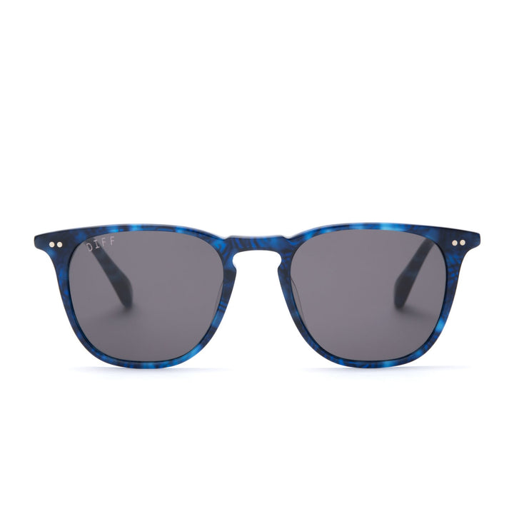 Maxwell sunglasses with regal blue tortoise frames and grey lens front view