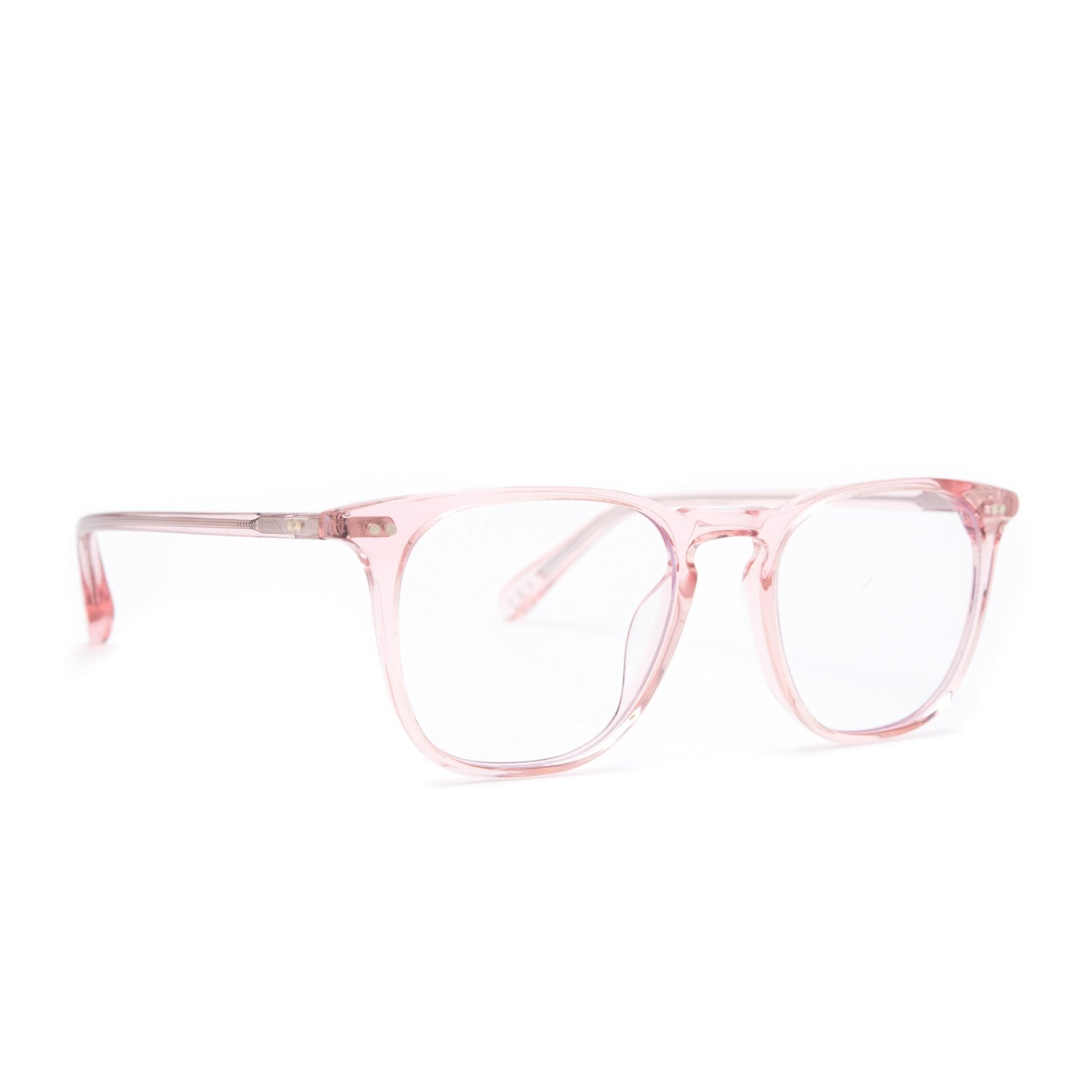 Maxwell prescription glasses with light pink frames angle view