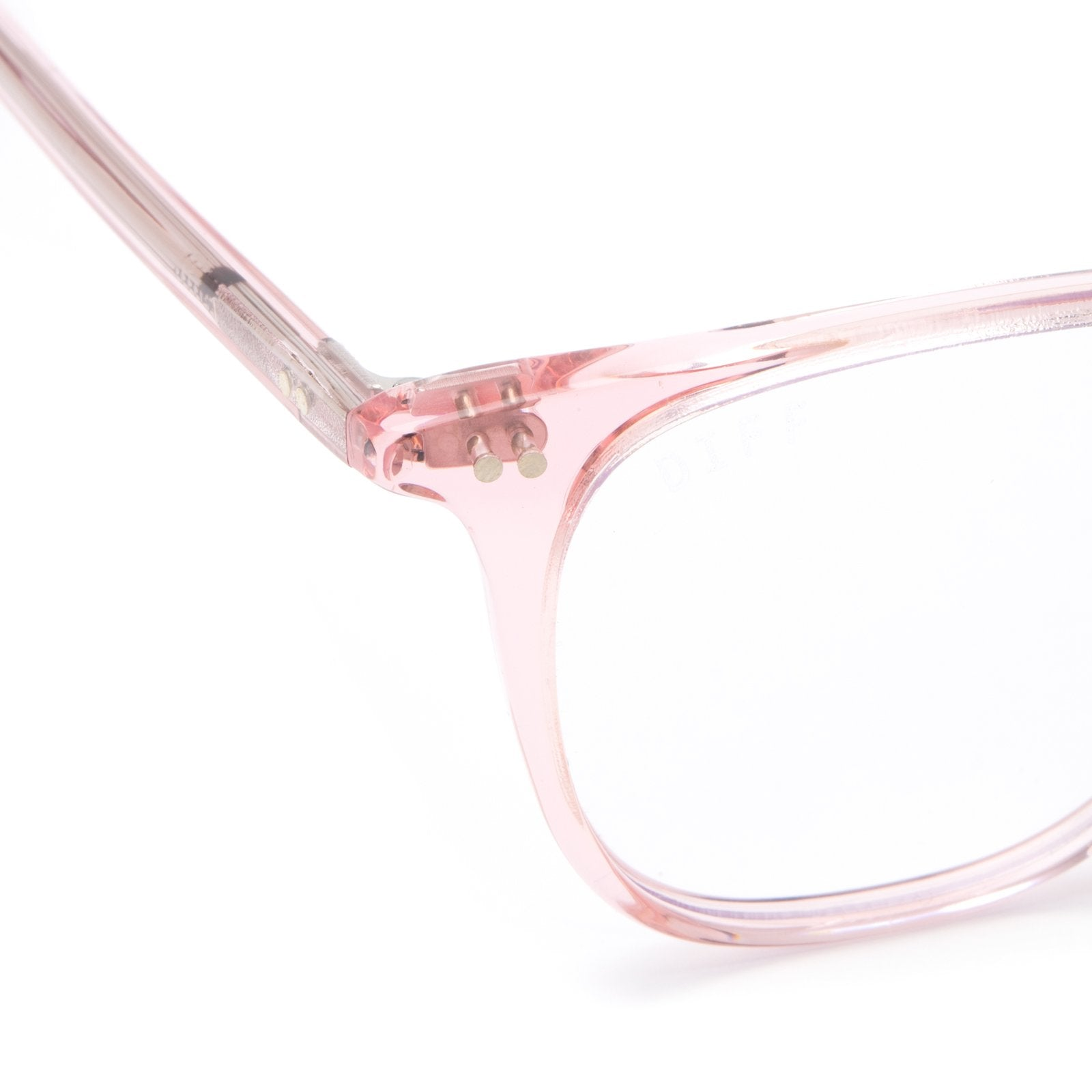 Maxwell prescription glasses with light pink frames detailed shot