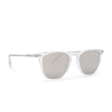 Maxwell sunglasses with clear crystal frames and grey mirror polarized lens side view